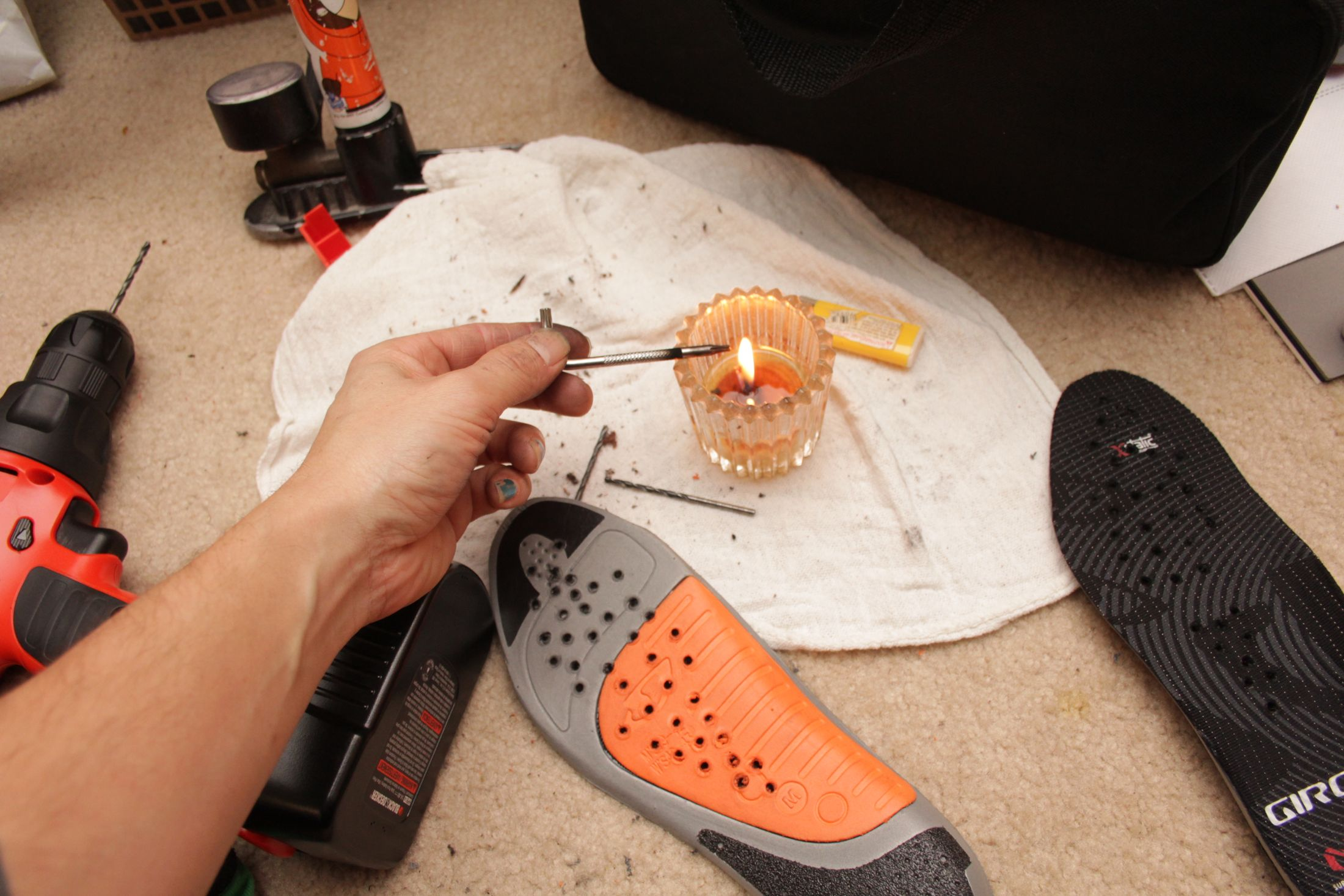 Heat boring holes into a foam insole