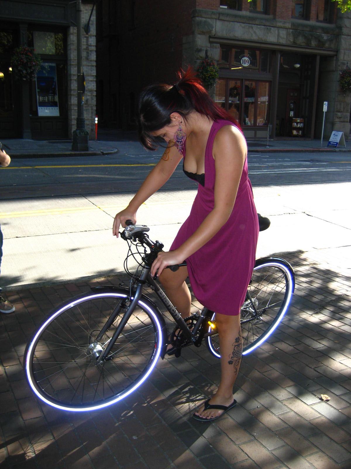 Iris on Brian's bike