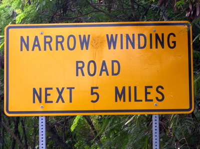 narrow, winding
