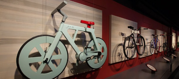 cardboard bike on wall