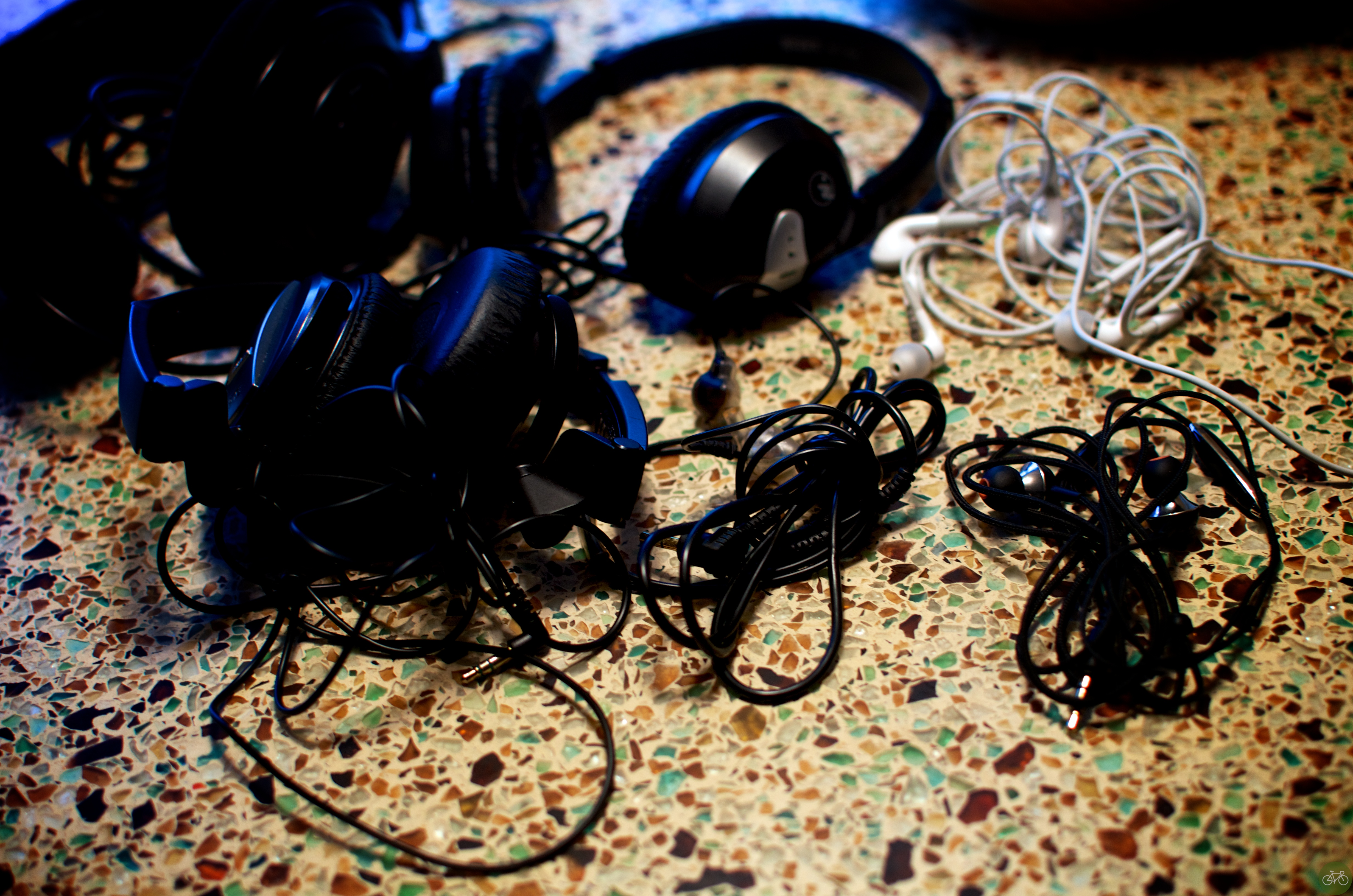 Partial collection of all the headphones I own