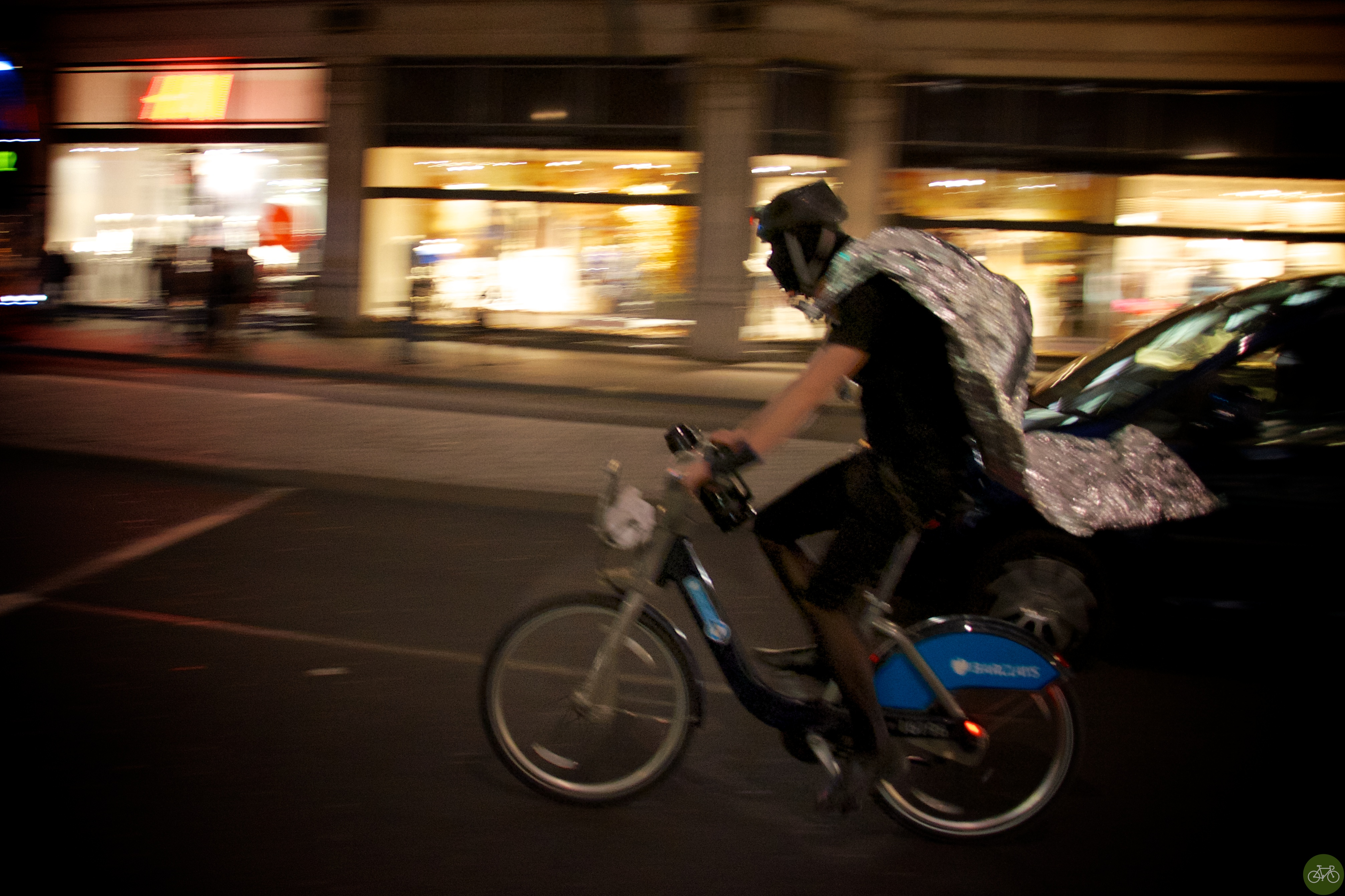 Caped crusader on a Boris Bike