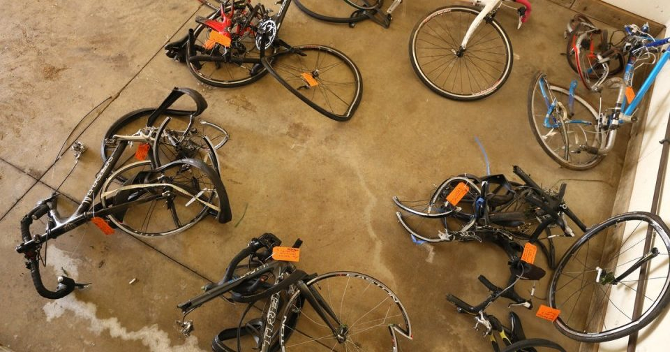 damaged bikes from crash with car