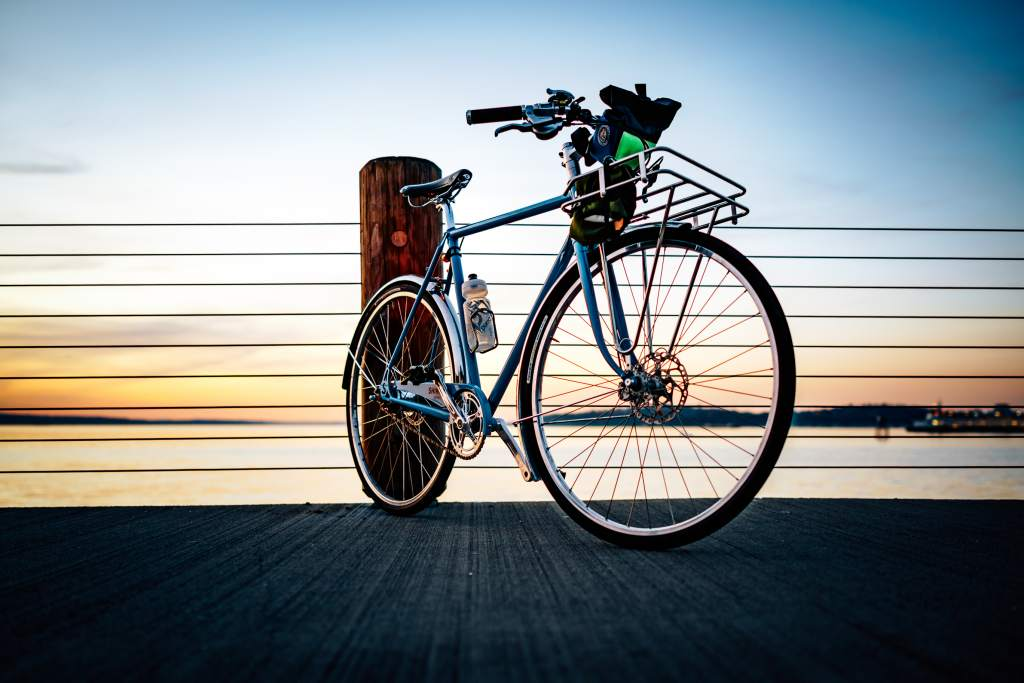 A spring ride on a steel bike at sunset.