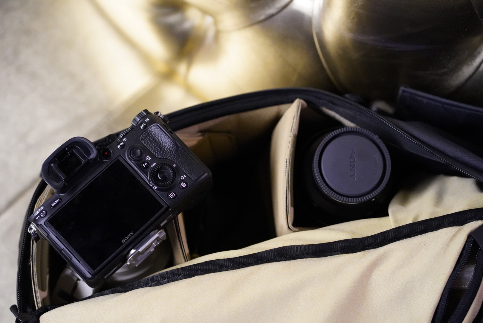 Body and lens in a backpack is light.